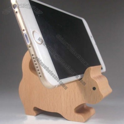 Wooden Cat Shaped Mobile Phone iPad Holder Stand