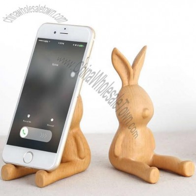 Wooden Cute Hare Cell Phone Holder