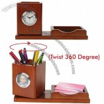 Wooden Desk Clock with Pen & Name Card Holder