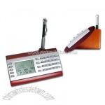 Wooden Desktop Digital Perpetual Calendar Calculator with Pen Holder and world clock