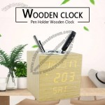 Wooden Digital Alarm Clock Pen Holder With Day/Night Mode