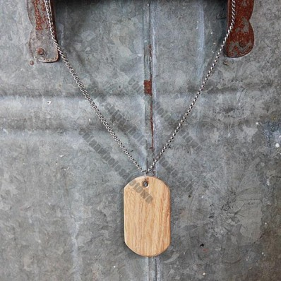 Wooden Dog Tag Necklace Handmade Black Walnut Wood