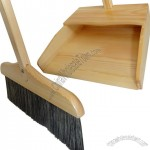 Wooden Dustpan and Broom Set