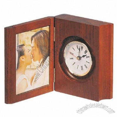 Wooden Folding Clock Stand W/Photo Frame