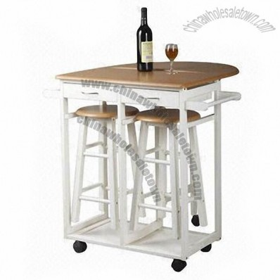 Wooden Folding Kitchen Trolley with Stools, Drawers and Hanger