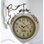 Wooden Garden Double Sided Wall Clock in Heart Shaped