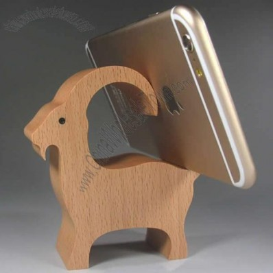 Wooden Goat Shaped Mobile Phone iPad Holder Stand