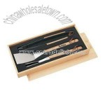 Wooden Handle BBQ Set