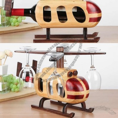 Wooden Helicopter Goblet and Wine Bottle Holder, Stemware Rack Drying Stand