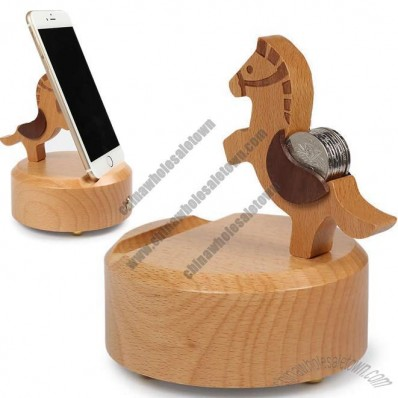 Wooden Horse Shaped Bluetooth Speaker Mobile Phone iPad Holder Stand