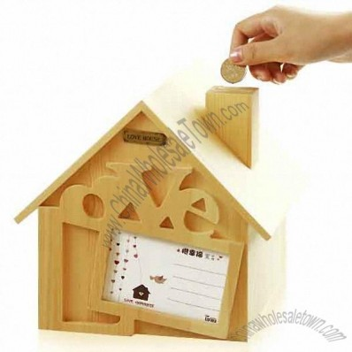 Wooden House Money Bank with Postcards