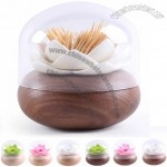 Wooden Lotus Flower Cotton Bud Holder Toothpick Case