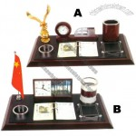 Wooden Luxury Business Desk Gift Set - Calendar, Clock, Pen Case, Tellurion, Card Holder