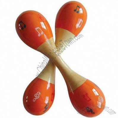 Wooden Maracas with Musical Note Printed