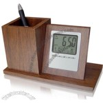 Wooden Pen Holder with Calendar Clock