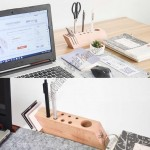 Wooden Pen Stand Business Card Holder Stationery Organizer