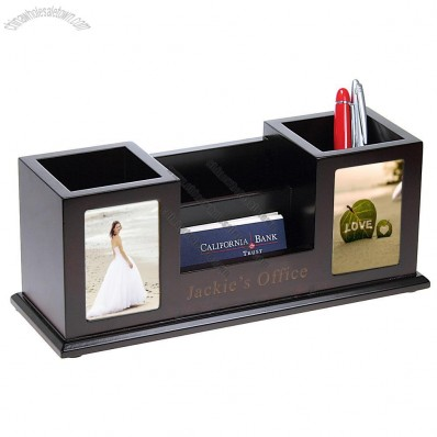 Wooden Pencil Cups with Picture Frames & Card Holder Desk Set