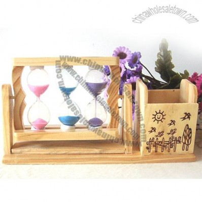 Wooden Penholder With Sandglasses