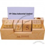 Wooden Perpetual Calendar with Business Card Holder and Pen Stand