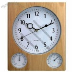 Wooden Weather Station Wall Clock