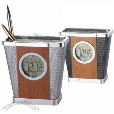 Wooden Wire Mesh Pen Holder with Clock