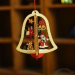 Wooden bells stars tree Christmas Pendant