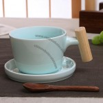 Wooden handle Ceramic Coffee Cup