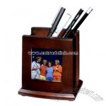 Wooden pen holder with photo frame