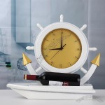 Wooden ships clock wine holder