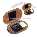 Wooden stationery set with 8 digit dual powered calculator