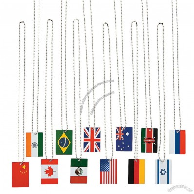 World Flag Premium Dog Tag Necklaces