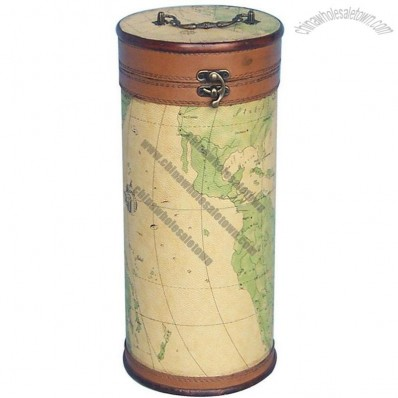 World Map Design Wooden Leather Skin Wine Holder Box