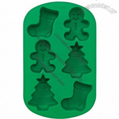 Xmas 6 Cavity Silicone Stocking - Boy and Tree Mold Pan
