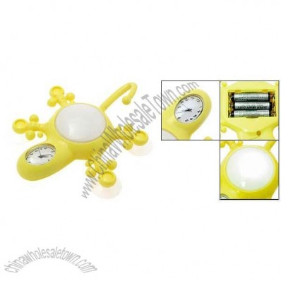 Yellow 3 in 1 Gecko Shaped Clock LED Night Lamp Suction Hat Hook