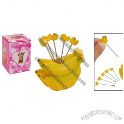Yellow Banana Fruit Stainless Steel Fork With Holder