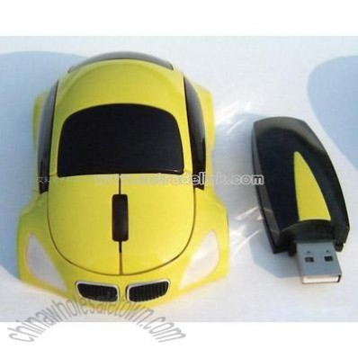 Yellow Car Optical Mouse