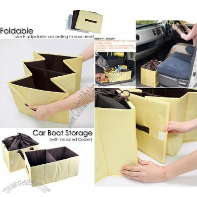 Yellow Collapsible Car Storage Box & Insulated Bag