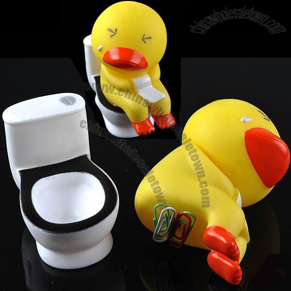 Yellow Duck on the Toilet Bowl Shaped Magnetic Paper Clips Holder ...