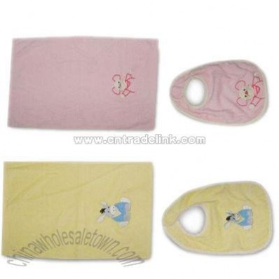 Yellow Embroidered Baby Towel Set