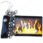 Yellow Flames Tri-fold chain wallet 4.5