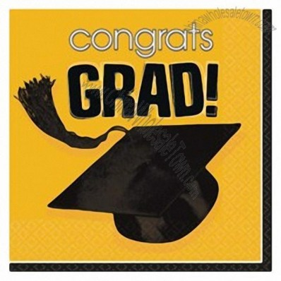 Yellow Graduation Beverage Napkins