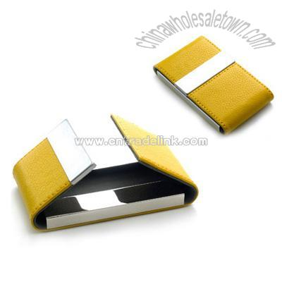 Yellow leatherette business card case w double magnetic flap yellow leatherette business card case w double magnetic flap colourmoves