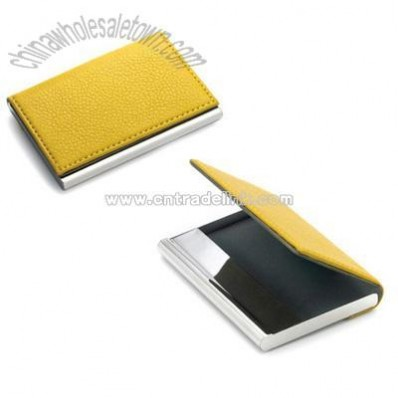 Yellow Leatherette Business Card Case w/ Flat Magnetic Lid