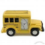 Yellow School Bus Miniature Clock