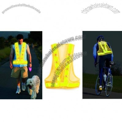 Yellow with Yellow Reflective Safety Vest with 16 LED Lights