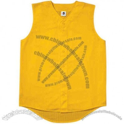 Youth Mesh Sleeveless Button-front Jersey