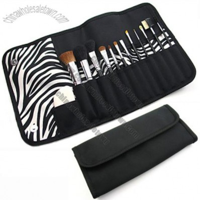 Zebra Brush Holder Lined Tri-Fold Makeup Brush Case