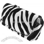 Zebra w/Black Velvet Stripes Horizontal Leather universal cell phone Pouch