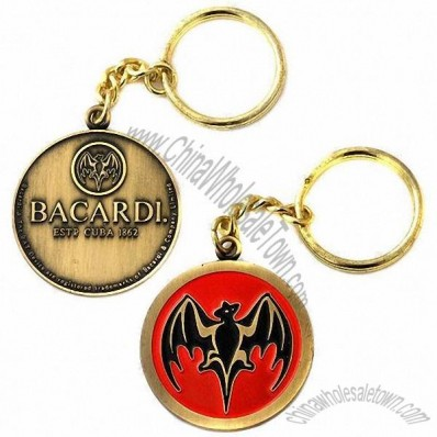 Zinc Alloy Keychain in Antique Brass Surface with Short Chain and Split Ring