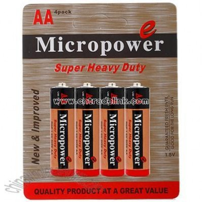 Zinc Carbon Battery AA/R6P with Blister Card Packing